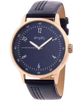 Simplify Rose Gold & Navy The 5700 Leather-Strap Watch