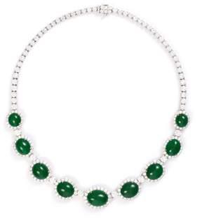 Green Jade Diamond jade 18k white gold necklace