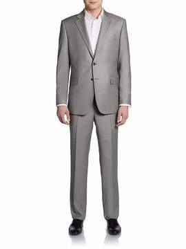 Saks Fifth Avenue BLACK Men's Classic-Fit Wool Sharkskin Two-Button Suit