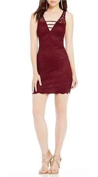 B. Darlin Deep-V Lace Sheath Dress