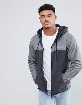 Nicce London track zip thru hoodie in gray