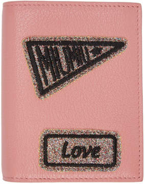 Miu Miu Pink Glitter Patch Compact Wallet