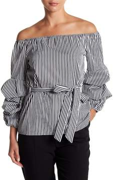 ECI Off-the-Shoulder Striped Long Sleeve Top
