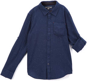 DKNY Navy Fleck Button-Up - Boys
