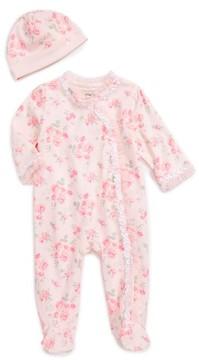 Little Me Infant Girl's Footie & Beanie Set
