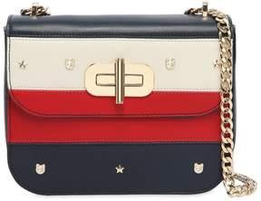 Tommy Hilfiger Striped Faux Leather Shoulder Bag