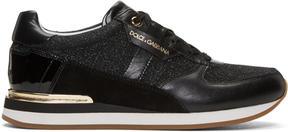 Dolce & Gabbana Black Glitter Panelled Sneakers