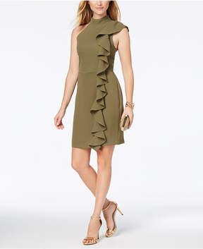 Adelyn Rae Ruffled Mock-Neck Sheath Dress