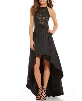 B. Darlin Beaded Bodice Long High-Low Dress