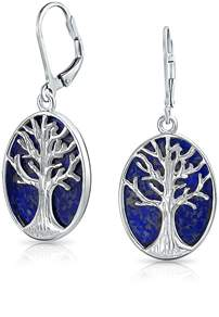 Lapis Bling Jewelry .925 Silver Tree Of Life Natural Leverback Earrings.