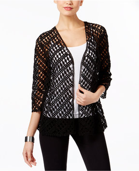 Alfani Cotton Crochet Open-Front Cardigan, Created for Macy's