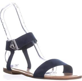 Bar III B35 Victor Ankle Strap Flat Sandals, Navy.