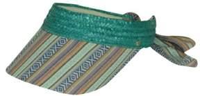 BCBGeneration Women's Patterned Brim Open Crown Straw Visor (Aloe, OS)