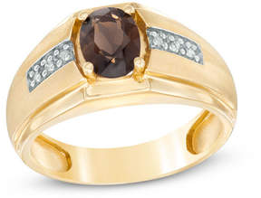 Zales Men's Oval Smoky Quartz and Diamond Accent Ring in 10K Gold