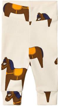 Mini Rodini Beige and Yellow Horse Leggings