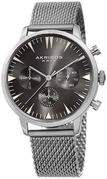 Akribos XXIV Mens Silver Tone Strap Watch-A-1027ss
