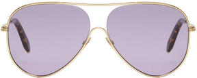 Victoria Beckham Blue and Gold Loop Aviator Sunglasses