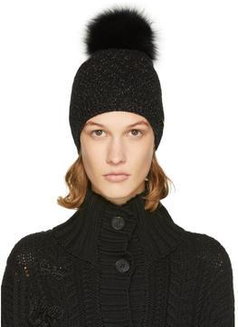 Yves Salomon Black and Gold Sparkle Fur Pom Pom Beanie