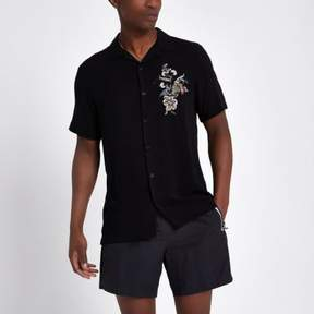 River Island Mens Black floral embroidered casual shirt