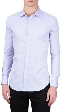 Bugatchi Men's Shaped Fit Checker Print Sport Shirt