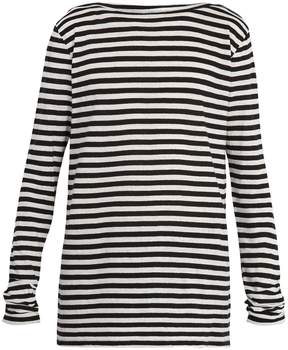 Faith Connexion Boat-neck striped cotton and linen-blend top