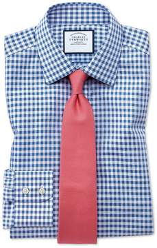 Charles Tyrwhitt Classic Fit Non-Iron Gingham Mid Blue Cotton Dress Shirt Single Cuff Size 16/33