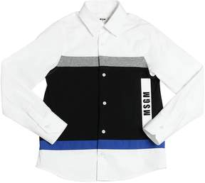 MSGM Patchwork Cotton Poplin & Jersey Shirt