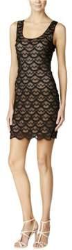 GUESS LA Women's Fringe Scoop Neck Dress (4, Nude/Black)