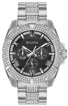 Bulova 96C126 Silver/Crystals 44mm Stainless Steel Crystals Mens Watch