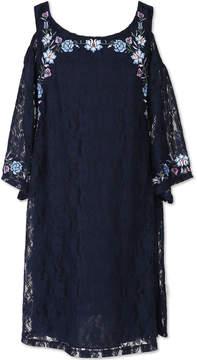 Speechless 3/4 Sleeve Cold Shoulder Shift Dress - Big Kid Girls