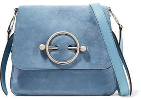 J.W.Anderson Disc Suede And Leather Shoulder Bag - Blue