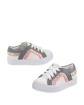 Sophia Webster Riko Mini Low-Top Sneaker, Size 5T-2Y