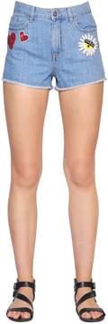 Chiara Ferragni Sequin Embroidered Cotton Denim Shorts