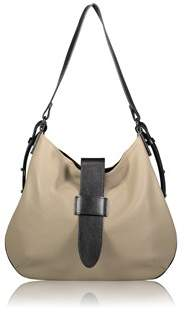 Joanna Maxham Tulip Hobo In Sand Pebbled Leather With Black Trim.