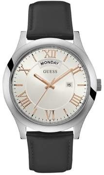 GUESS Men's Silver-Tone and Black Classic Watch