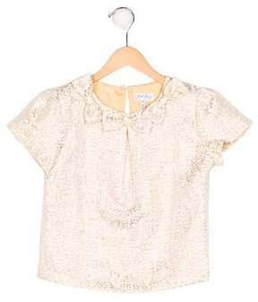 Rachel Riley Girls' Jacquard Bow-Accented Top
