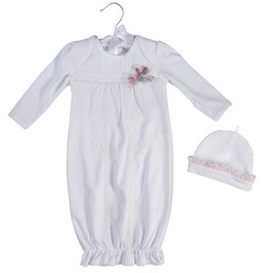 Laura Ashley 2pc Gown And Cap Set.