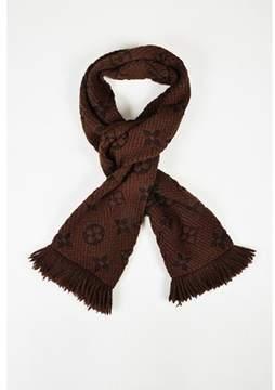 Louis Vuitton Pre-owned Brown & Black Wool & Silk Monogram logomania Fringed Scarf.