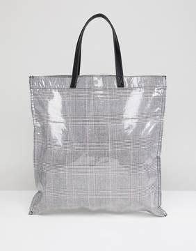 Asos DESIGN check bonded plastic shopper bag