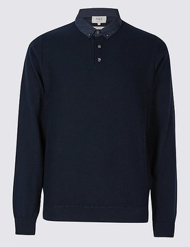 Marks and Spencer Pure Cotton Textured Mock Shirt Jumper