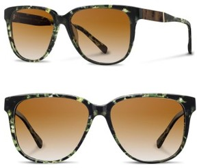 Shwood Women's 'Mckenzie' 57Mm Retro Sunglasses - Darkforest/ Elm/ Brown
