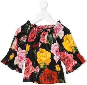 Dolce & Gabbana ruffled printed blouse
