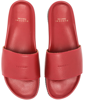 Buscemi Classic Leather Slide Sandals in Red.
