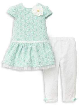 Little Me Baby Girl's Two-Piece Floral Dress and Polka Dot Leggings Set