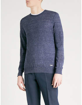 BOSS ORANGE Crewneck marled linen jumper