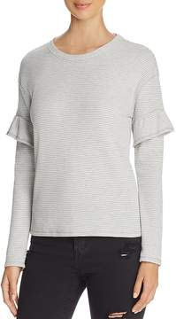 Andrew Marc Performance Ruffle Trim Striped Thermal Top