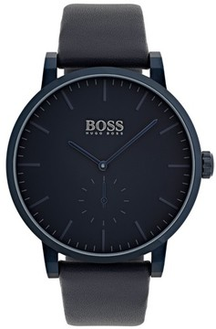 BOSS Men's Hugo Essence Leather Strap Watch, 42Mm