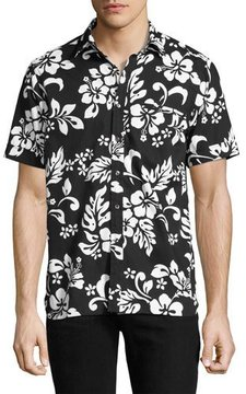 Ovadia & Sons Floral Short-Sleeve Camp Shirt, Black/White