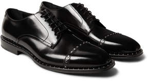 Jimmy Choo Parris Studded Polished-Leather Derby Shoes