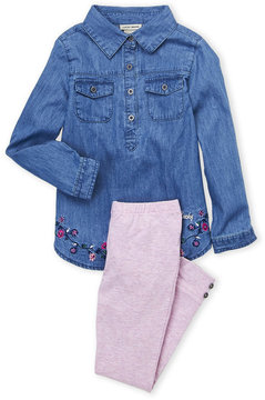 Lucky Brand Girls 4-6x) Two-Piece Embroidered Floral Top & Leggings Set